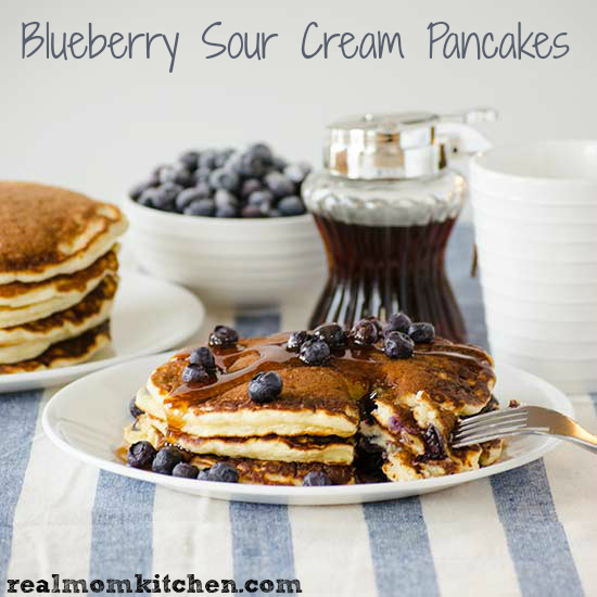 Blueberry Sour Cream Pancakes   realmomkitchen.com