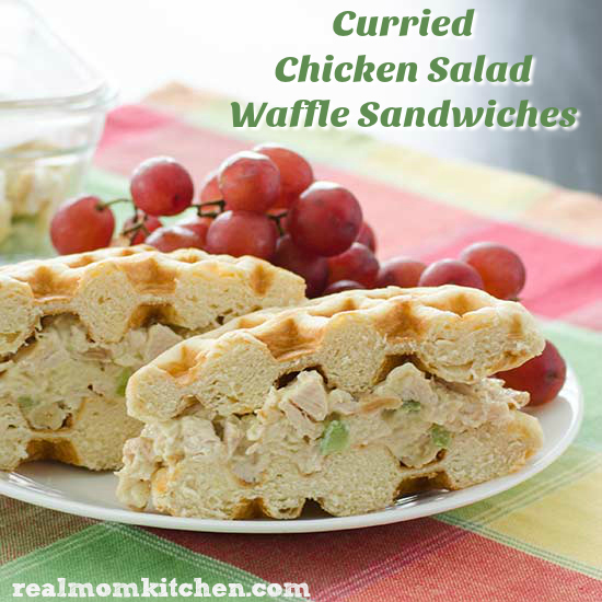 Curried Chicken Salad Waffle Sandwiches | realmomkitchen.com