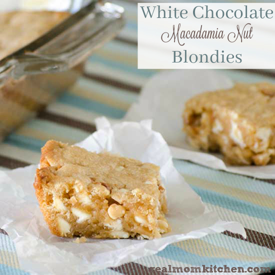 White Chocolate Macadamia Nut Blondies | realmomkitchen.com