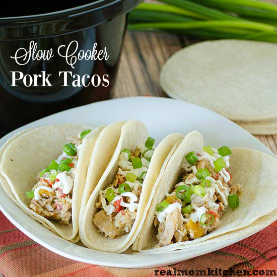 Slow Cooker Pork Tacos | realmomkitchen.com