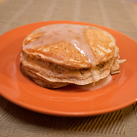 Cinnamon Bun Pancakes with Maple-Butter Icing