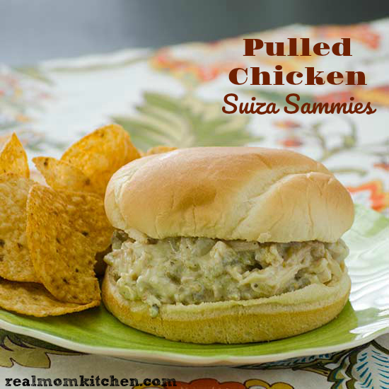 Pulled Chicken Suiza Sammies | realmomkitchen.com