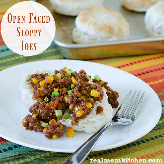 Open Faced Sloppy Joes | realmomkitchen.com