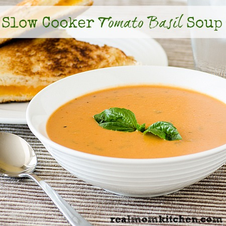 Slow Cooker Tomato Basil Soup | realmomkitchen.com