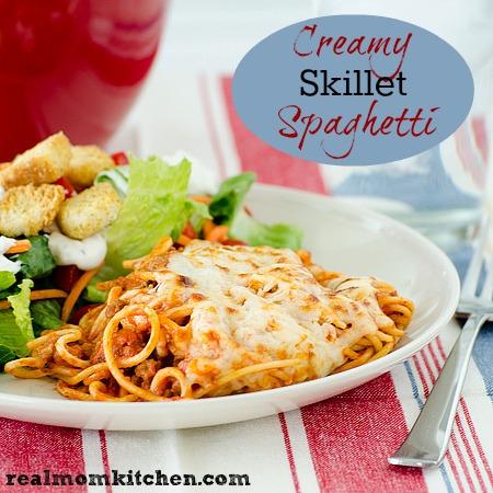 Creamy Skillet Spaghetti | realmomkitchen.com
