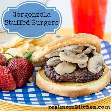 Gorgonzola Stuffed Burgers   realmomkitchen.com