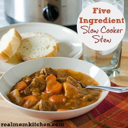 Five Ingredient Slow Cooker Stew | realmomkitchen.com
