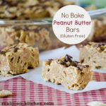 No Bake Peanut Butter Bars {Gluten Free} | realmomkitchen.com