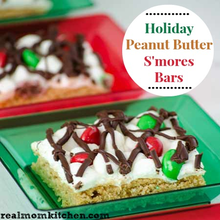 Holiday Peanut Butter Smores Bars | realmomkitchen.com