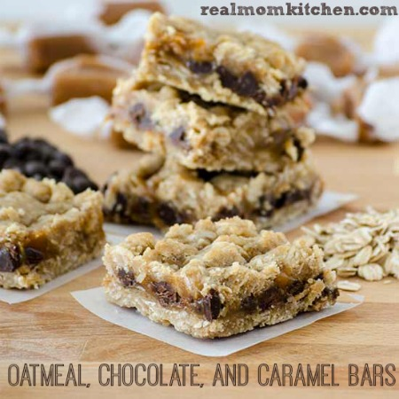 Oatmeal Chocolate and Caramel Bars   realmomkitchen.com