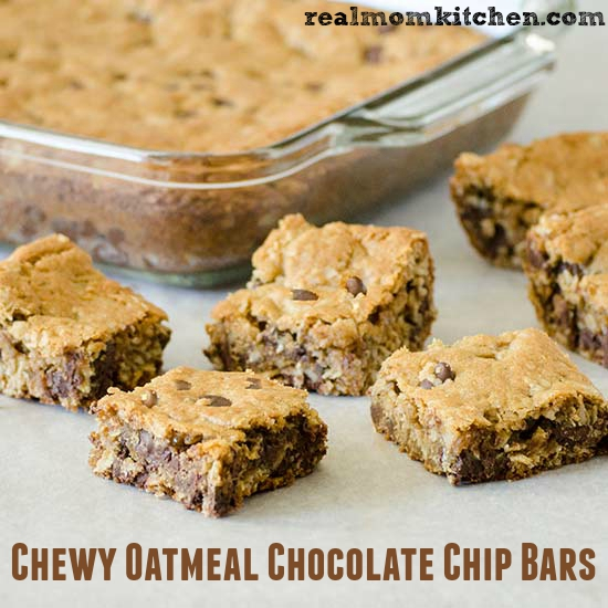 Chewy Oatmeal Chocolate Chip Bars   realmomkitchen.com