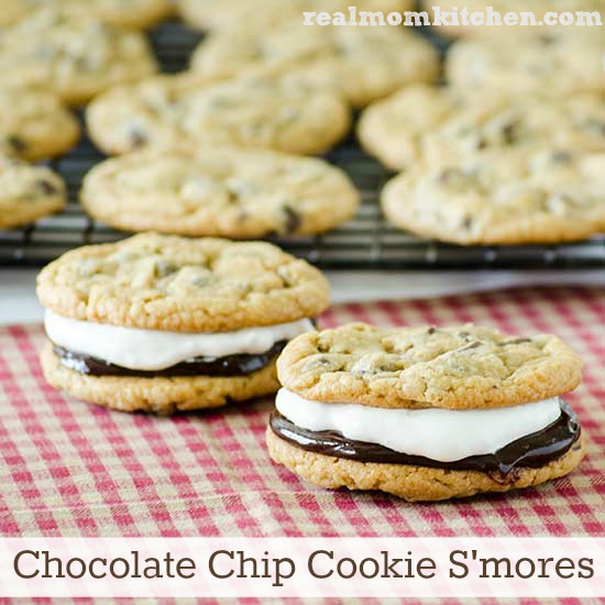 Chocolate Chip Cookie S'mores | realmomkitchen.com #celebratingfood2015 #nationalsmoresday