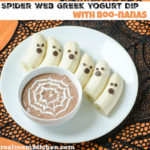 Greek Yogurt Spider Web Dip with Boo-nanas | realmomkitchen.com #SnackandSmile