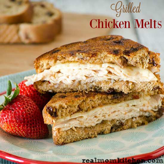 Grilled Chicken Melts | realmomkitchen.com #NationalGrilledCheeseDay
