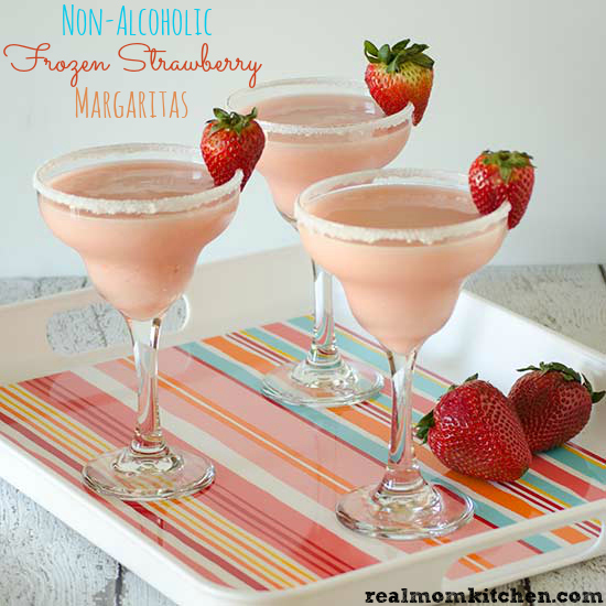 Non-Alcoholic Frozen Strawberry Margaritas | realmomkitchen.com