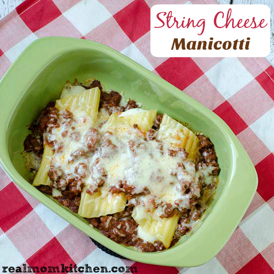 Real Mom Kitchen: String Cheese Manicotti