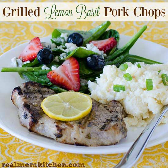 Grilled Lemon Basil Pork Chops