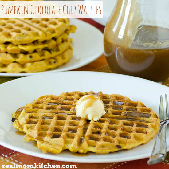 Pumpkin Chocolate Chip Waffles | realmomkitchen.com