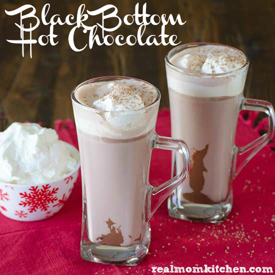 Black Bottom Hot Chocolate with Marshmallow Whipped Cream | realmomkitchen.com