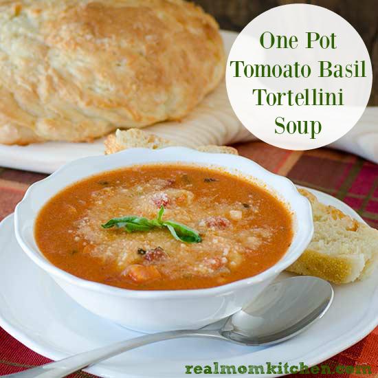 One Pot Tomato Basil Tortellini Soup | realmomkitchen.com