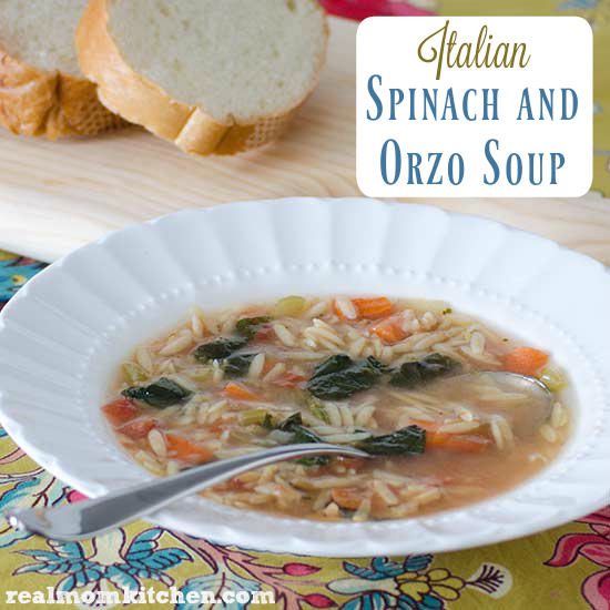 Italian Spinach and Orzo Soup   realmomkitchen.com