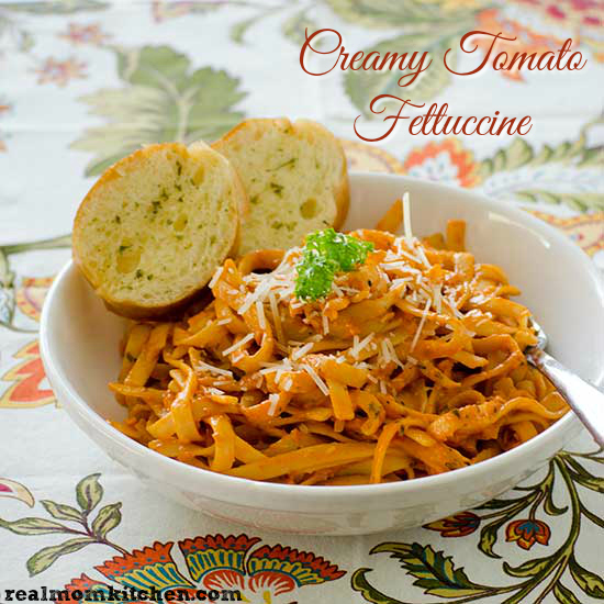 Creamy Tomato Fettuccine | realmomkitchen.com