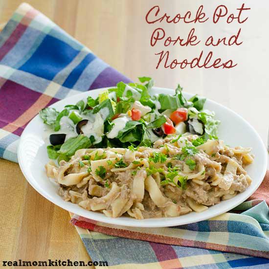Crock Pot Pork and Noodles   realmomkitchen.com