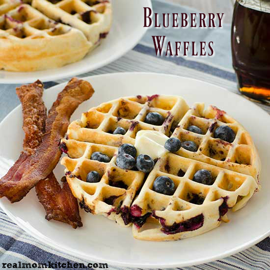 Blueberry Waffles | realmomkitchen.com