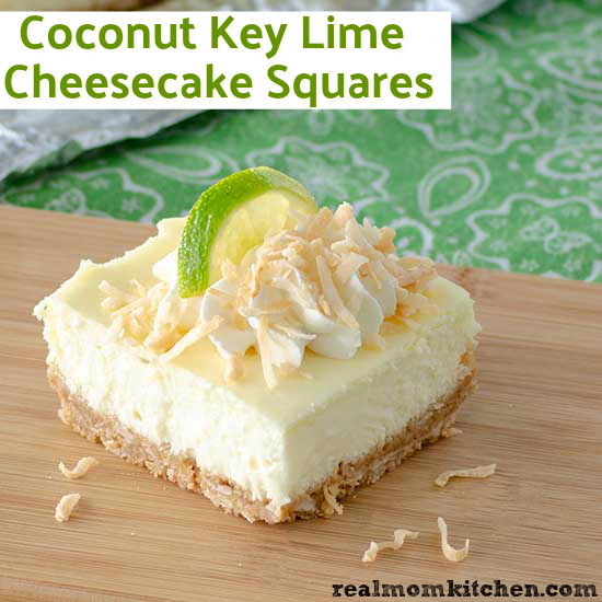 Coconut Key Lime Cheesecake Squares   realmomkitchen.com
